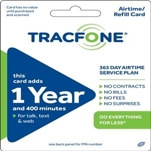 tracfone 1 year 400 minute refill service airtime data plans